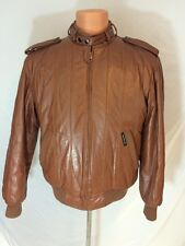 Vintage 1980s Members Only Bomber Cafe Racer Brown Leather Jacket Size 38