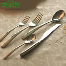5 Pcs Silver Flatware Set Cutlery Silverware Dinner Service Fork Tea Spoon Knife