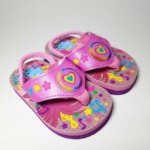 NEW Toddler Girls Size S 5/6 Flip Flops Trolls Light-up Slip-On Heel Strap Pink