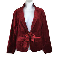White House Black Market Red Velvet Jacket Satin Sash Tie Size 8