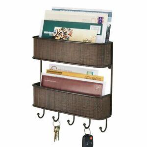 mDesign Wall Mount 2 Tier Metal Woven Mail Organizer Storage Basket - Bronze