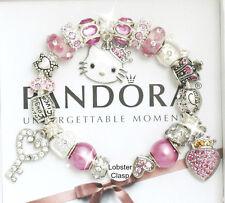 Authentic Pandora Silver Bracelet Pink Princess Hello Kitty European Charms New