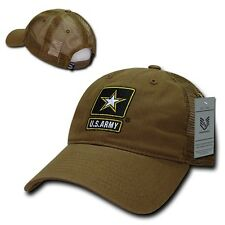 United States Army Star US Coyote Cotton Low Crown Polo Mesh Trucker Cap Hat