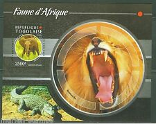 TOGO 2015  FAUNA OF AFRICA ELEPHANT, LION  & CROCODILE S/S MINT NEVER HINGED