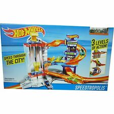 HOT WHEELS speedtropolis Giocattolo Garage 3 livelli CITY TRACK Set Inc 1 X auto Nuovo in Scatola