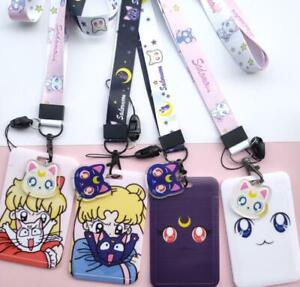 lot Sailor Moon cats key chain Lanyard acrylic ID Badge Holder Key Neck Strap
