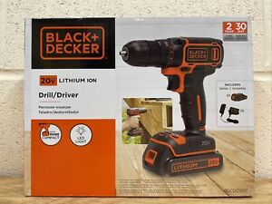 New Black+Decker 20V Battery Powered Cordless Drill/Driver BDCDD120C NEW
