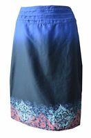 R01 New Fat Face size 10 -14 Navy Blue Print Hem Pleated A line Skirt