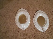 White Hobnail look Mirrored Sconces vintage Home Interiors Lot of 2
