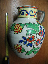 TASHIRO SHOTEN PITCHER   STONEWARE  MAJOLICA  COLORS  OVER 8 '' TALL  VERY NICE
