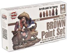 Andrea Miniatures Brown Acrylic Paint Set 6 Bottles