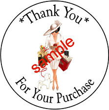 SHOPPING LADY #23  LARGE ROUND THANK YOU STICKERS
