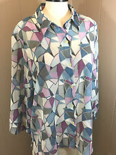 ALFRED DUNNER Women's 18 / 1X Plus Blue 3/4-Sleeve Poly Button Shirt Top NWOT
