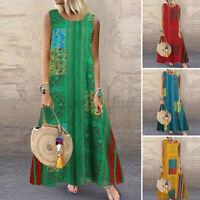 UK Women Summer Bohemia Sleeveless Casual Loose Kaftan Long Maxi Dress Plus Size
