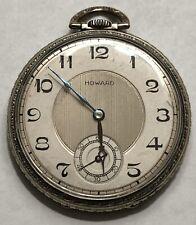 E. Howard Keystone 14K White Gold Filled 12 Size 17 Jewel Pocket Watch