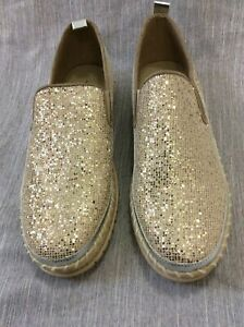 Jolimall Metallic Gold Sparkle Silver Accents Slip-On Shoes 10 flats glitter