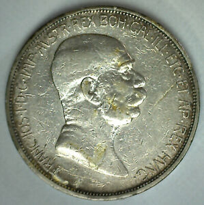 1909 Austria Silver 5 Corona Coin Circulated Franz Joseph I Ruler Austrian