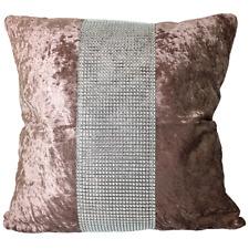 Cushion Crushed Velvet Luxury Sparkling Diamanté Lace Strip Chic Scatter Square