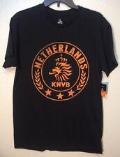 KNVB Netherlands Soccer Black Orange Print T-Shirt Mens Size M