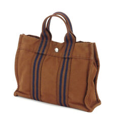 HERMES tote bag Furutu cotton canvas Auth used T10061