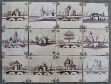 Antique 18th C Dutch Delft manganese wall tiles depicting landscape sceneries