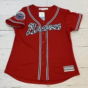 Majestic Atlanta Braves MLB Red Jersey Stitched Women's Size Large 2017 Inaugura