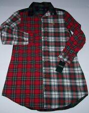 NWT Ralph Lauren MULTI-PLAID Flannel BOYFRIEND Sleep Shirt Nightgown S Red/Green