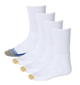 GOLD TOE 4 PAIRS VAPOR-TECH MOISTURE CONTROL FULL CUSHION WHITE CREW SOCKS 10-13