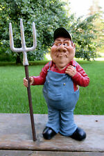 Farmer with Pitch Fork Figurine Warren Stratford Collectible 11 in.Wears Trouser
