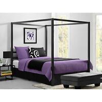Canopy Bed Modern Queen Size Frame Bedroom Set Furniture Headboard Metal New