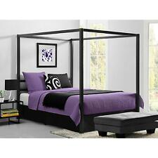 Canopy Bed Modern Queen Size Frame Bedroom Set Furniture Headboard Metal New