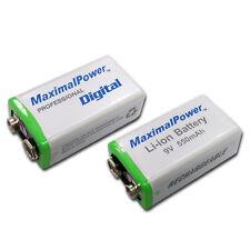 2-Pack 9 Volt Li-Ion Rechargeable Batteries 550mAh 9V Battery Count X2