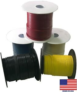 (5) Spools 10 Gauge Wire 100 FT Primary AWG - Red Black White Blue Yellow - USA