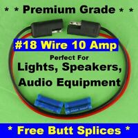 """18 Gauge 12"""" Inch Quick Connect Disconnect SAE Wire Harness 2 Pin Polarized 12V"""