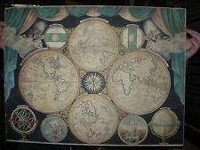 hémisphères Aquarelle en trompe l'oeil (circa 1800cadre d'origine.rose des vents