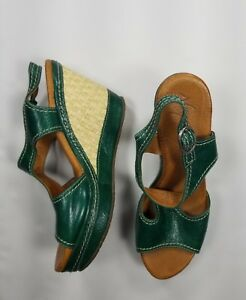 Naya Eternal Green Platform Weave Wedge Sz 8.5 M Sandal Heel Women's