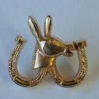 Missouri Mule Lucky Double Horseshoe Lapel Hat Jacket Pin Goldtone Metal Show Me