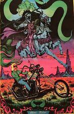 Ghost Rider Original Vintage Blacklight Poster 1970s Pin-up Chopper Motorcycle