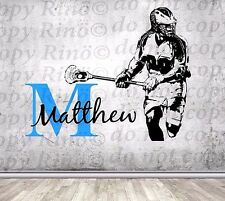 Lacrosse Decals Lax wall art decal Custom first name Player bedroom Decor vinyl