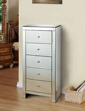 WestWood Mirrored Furniture Glass Tallboy Chest Cabinet With 5 Drawer MTC01 New