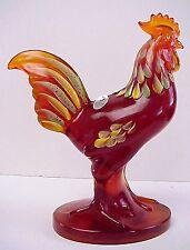 "Fenton Glass Orange Slice Folk Art 81/2""  Rooster Painted By D Fredrick LE 2011"