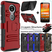 For Motorola Moto E5 Plus/Supra Case Hybrid Holster Stand Cover Screen Protector