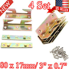 4 Set Bed Frame Rail Fitting Brackets Woodworking Accessories Connector Hardware