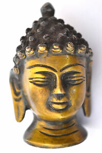 hand  crafted  brass budha head golden look nice carving curly hair