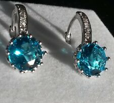 FH6 Round Aquamarine 24k WHITE GOLD gf 10mm French Hoop Earrings BOXED Plum UK