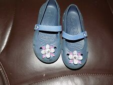 Crocs Keeley Springtime Mary Jane Flats Navy/Bijou Blue Size 9C Girl's Euc