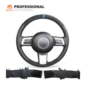 DIY Black Leather Suede Steering Wheel Cover for Mazda MX-5 (Miata) RX-8 CX-7