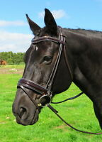 FSS STELLAR Curve CRYSTAL PIPING EDGE Rolled German BROWN Comfort PATENT Bridle