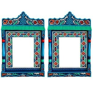 SET OF 2 Paint furniture Morocco mirror Blue rustic Mirror decor, Hand painted