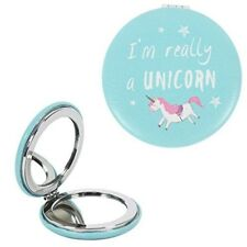 Unicorn Design Compact Travel Mirror Soft Case Blue - Attitude Clothing